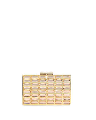 Metallic Clutch with Glass Jewels