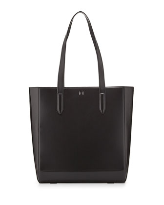 Structured Leather Tote Bag, Black