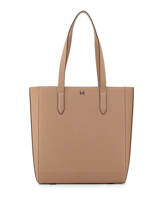 Structured Leather Tote Bag, Ash
