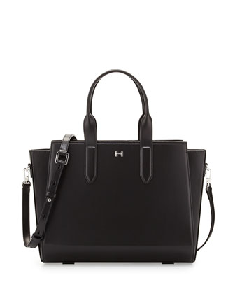 Leather East-West Satchel Bag, Black