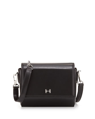 Structured Mini Leather Crossbody Bag, Black
