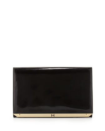 Flat Leather Flap Clutch Bag, Black