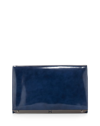 Flat Leather Flap Clutch Bag, Cobalt