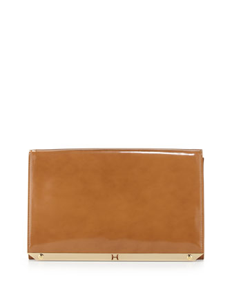 Flat Leather Flap Clutch Bag, Tan