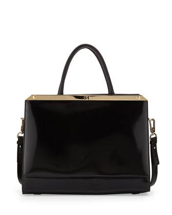 Structured Leather Satchel Bag, Black