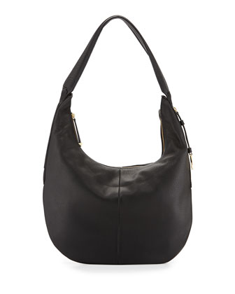 Leather Slouch Hobo Bag, Black