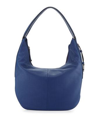 Leather Slouch Hobo Bag, Cobalt