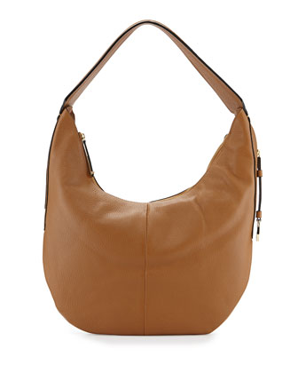 Leather Slouch Hobo Bag, Tan
