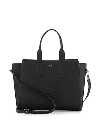 Embossed Leather Satchel Bag, Black