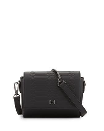 Mini Embossed Crossbody Bag, Black