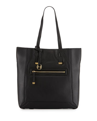 Leather North/South Tote Bag, Black