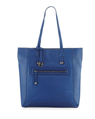 Leather North/South Tote Bag, Cobalt