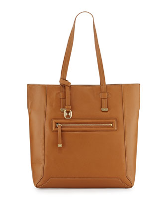 Leather North/South Tote Bag, Tan