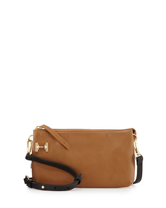 Double-Gusset Pochette Crossbody Bag, Tan Multi
