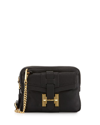 Small Double-Zip Crossbody Bag, Black