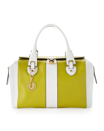 Barbara Speedy Stripe Satchel, Green