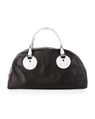 Gemma Two-Tone Satchel, Black/White