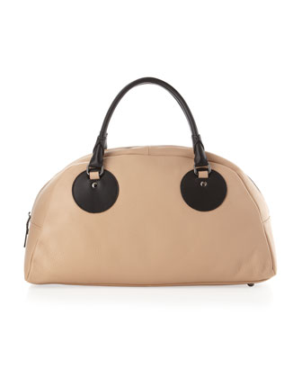 Gemma Two-Tone Satchel, Tan/Black