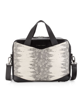 Gigi Snake-Embossed Satchel Bag, Black/Gray