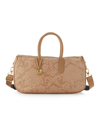 Damask-Embossed East-West Satchel Bag, Taupe