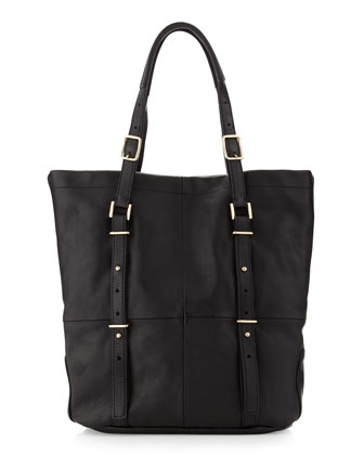 Wheeler Paneled-Leather Tote Bag, Black