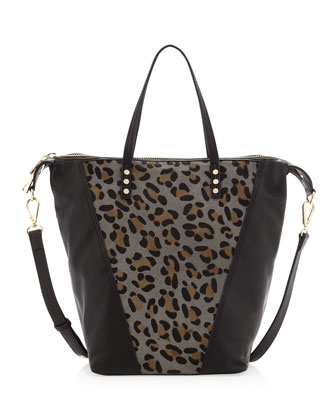 Abbey Leopard-Print Calf Hair Satchel Bag, Black