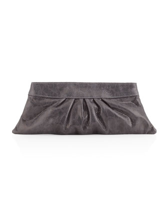 Louise Double Lizard Clutch Bag, Gray