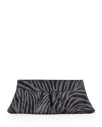 Eve Zebra Encrusted-Glass Clutch, Charcoal