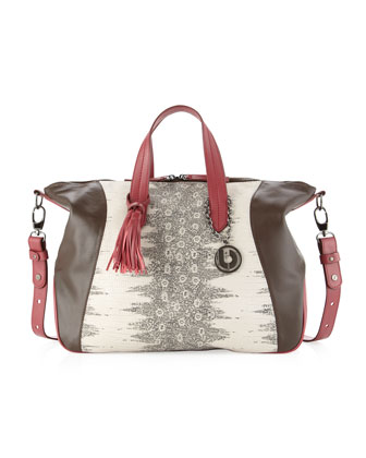 Giselle Snake-Panel Colorblock Tote, Brown