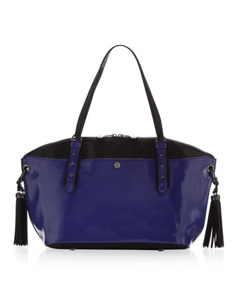 Bond Patent & Saffiano Satchel, Royal/Black