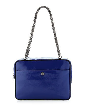Carly Patent Shoulder Bag, Royal/Black