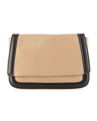 Sumner Contrast-Trim Clutch, Skin/Black