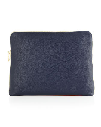 Dakota Colorblock Clutch, Navy/Bone/Cognac