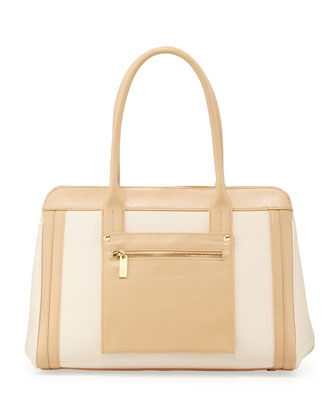 Jackie Colorblock Bag, Tan/Natural