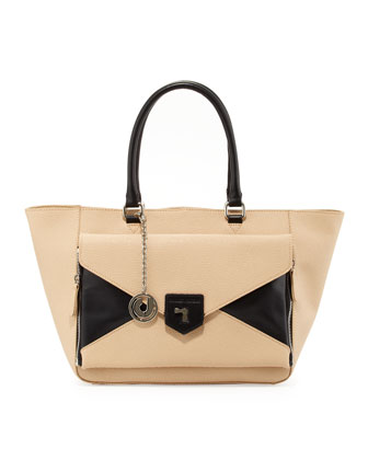 Jana Trapezoidal Convertible Bag, Black/Tan
