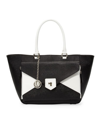 Jana Trapezoidal Convertible Bag, Black/White