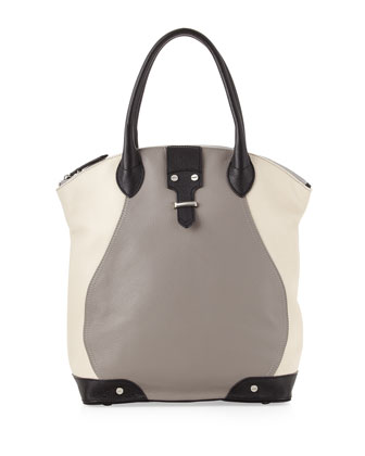 Jo North-South Tote Bag, Gray/Multi