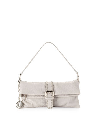 Jezebel Whipstitch-Belt Shoulder Bag, Gray