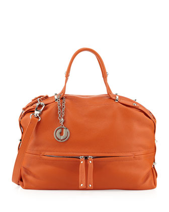 Janet Bottom-Half Zip Shoulder Bag, Orange