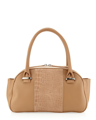 Jeri Center-Embossed Mini Satchel, Tan