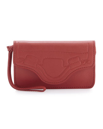 Handle-Embossed Phone Wristlet, Poppy