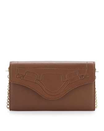 Handle-Embossed Wallet Crossbody, Brown
