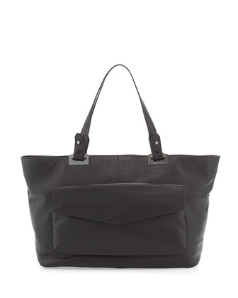 Abbey East-West Leather Tote Bag, Black