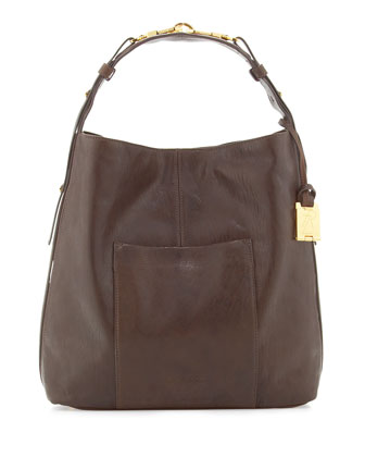 Arizona North-South Leather Hobo Bag, Chocolate