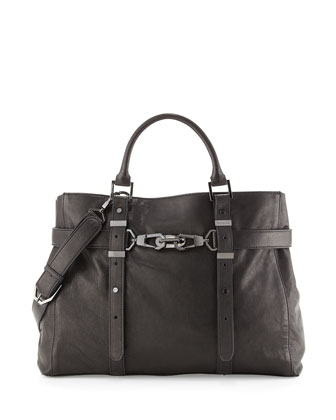 Hutton Large Belted Leather Satchel Bag, Black