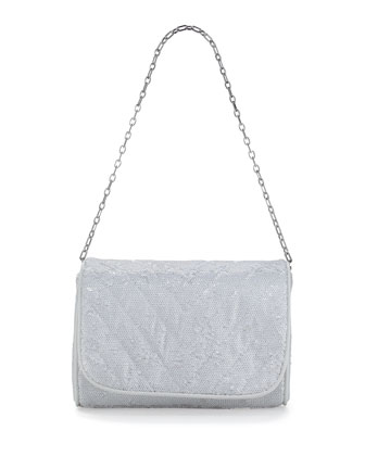 Jaz Quilted Sequin Shoulder Bag, White