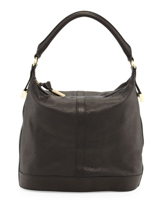 Embossed Leather Bucket Bag, Black