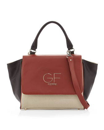 Colorblock Logo-Flap Satchel Bag, Brown Multi