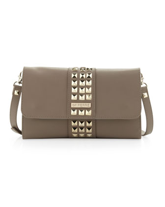 Studded Flap Crossbody Clutch Bag, Brown