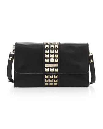 Studded Flap Crossbody Clutch Bag, Black